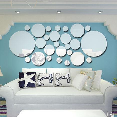 26pcs / set pegatinas de espejo de pared de lunares acrilicos, decoracion de arte mural