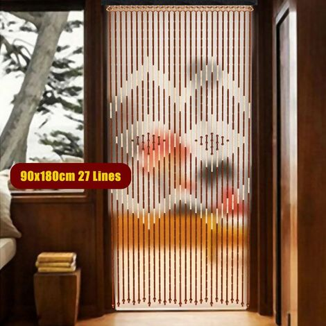 27 lines bamboo wooden bead chain door tassel curtain blinds mosquito net for porch bedroom living room bathroom 90x180cm