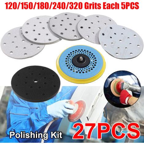 """27 pièces 150mm 5 """"disques de pon?age à boucle de crochet 17 trous de tampons de papier abrasif ensemble 120/150/180/240/320 grains ponceuse disque outils de polissage abrasifs"""
