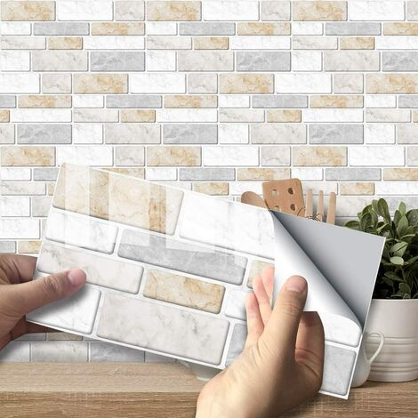 """main image of """"27 Pieces Decorative Adhesive Rectangle Bathroom and Kitchen Tile Stickers, Classic Marble Pattern Waterproof 3D Adhesive Decoration (Warm Yellow Marble)"""""""