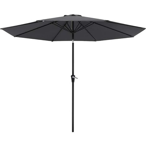 270 cm Parasol Umbrella, UPF 50+, Sun Shade, Octagonal Polyester Canopy, with Tilt and Crank Mechanism, for Outdoor Gardens, Balcony and Patio, Base Not Included, Grey GPU27GY