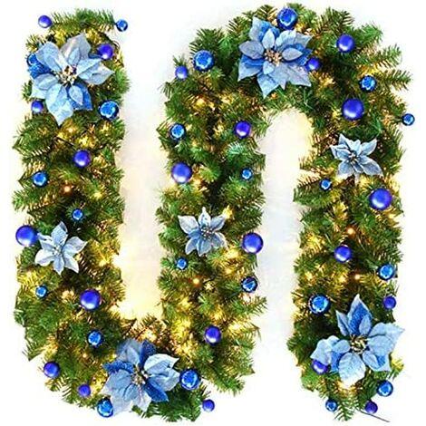 270cm Guirlande de Sapin Noel, Noël Guirlande de Sapin Artificiel Lumineuse De La Lampe LED Lamp Décoration pour Arbre De Noël Porte Escalier Cheminée (Bleu)