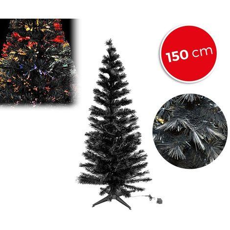 272394 Árbol de navidad en color negro con fibra óptica luminos multicolor 150cm