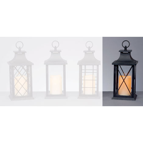 27cm Black Battery Operated Lantern with LED Flicker Candle - Cross Windows