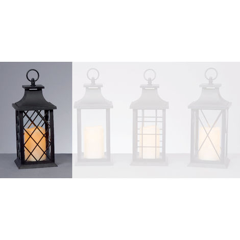 27cm Black Battery Operated Lantern with LED Flicker Flame Candle - Diamond Windows