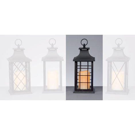 27cm Black Battery Operated Lantern with LED Flicker Flame Candle - Square Windows