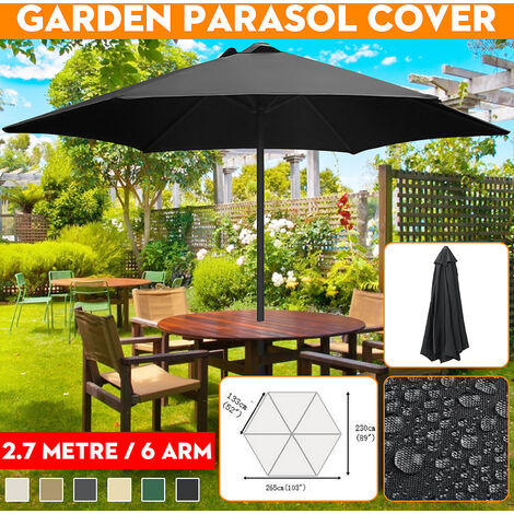 2.7m 6 Arm UV Protect Waterproof Canopy Cover Garden Parasol Cover Fabric Replacement (Black)
