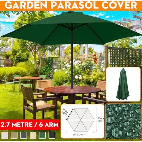 2.7m 6 Arms UV Protect Waterproof Canopy Cover Garden Parasol Cover Fabric Replacement (Beige)
