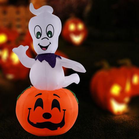 2.7M Halloween Inflatable Rotating Pumpkin Elf Decoration Light Up Ghost