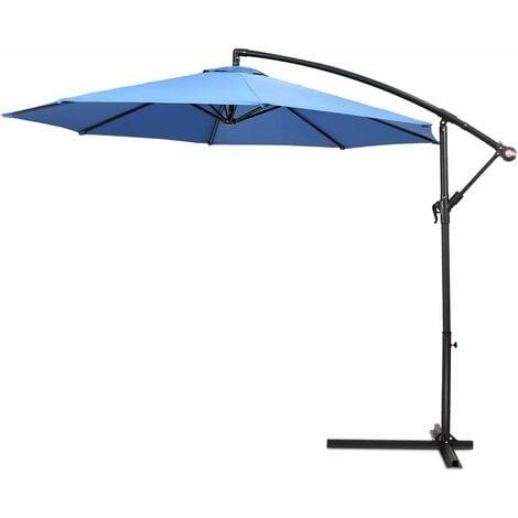 2.7m Outdoor Parasol Sun Shade Patio Banana Cantilever Hanging Umbrella Garden Blue