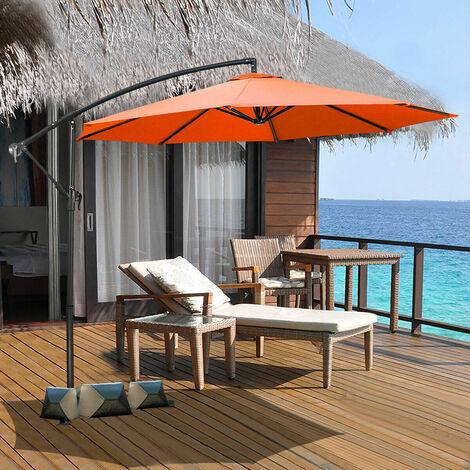 2.7m Outdoor Parasol Sun Shade Patio Banana Cantilever Hanging Umbrella Garden Orange