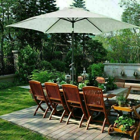 2.7m Round Garden Parasol Outdoor Patio Sun Shade Umbrella with Tilt Crank UV protection - Beige