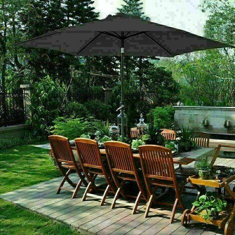 2.7m Round Garden Parasol Outdoor Patio Sun Shade Umbrella with Tilt Crank UV protection - Black