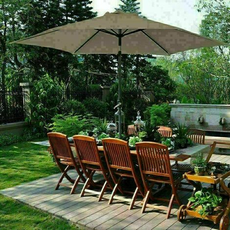 2.7m Round Garden Parasol Outdoor Patio Sun Shade Umbrella with Tilt Crank UV protection - Brown