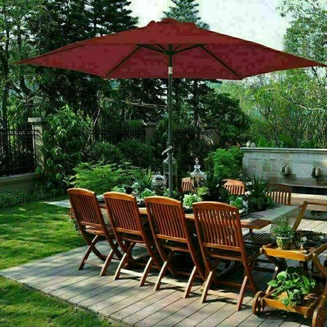 2.7m Round Garden Parasol Outdoor Patio Sun Shade Umbrella with Tilt Crank UV protection - Wine Red