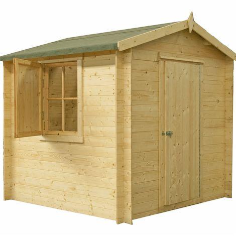 2.7m x 2.7m Premier Apex Log Cabin With Single Door and Window Shutter + Free Floor & Felt (19mm)