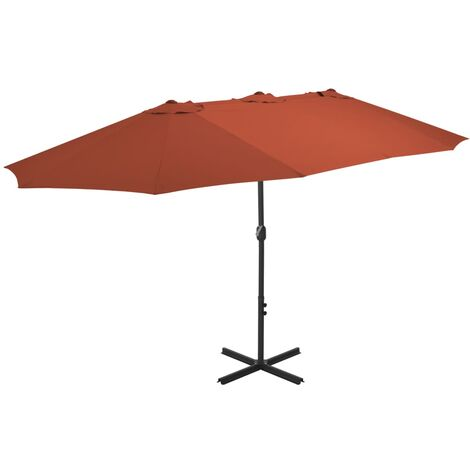 2.7m x 4.6m Rectangular Traditional Parasol by Freeport Park - Orange