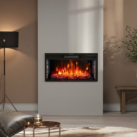 28 inch Electric LED Fireplace Wall Inset Mounted Heater 7 Flame Colours