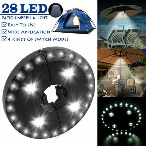 28 LED Patio Parasol Lights Camping Lights Outdoor Tent Light 3 Brightness Mode (Black, Round Type White Light (Without Remote Control))