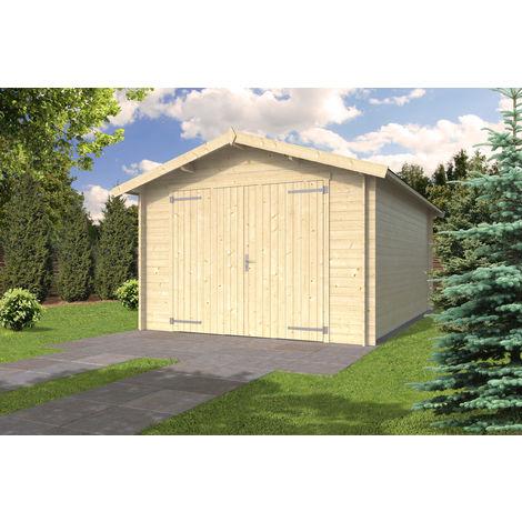28 mm Holzgarage - ca. 350x530 cm - Einzelgarage Gartenhaus Garage Holz