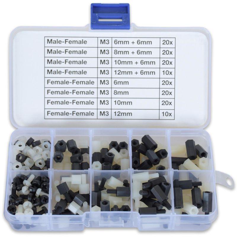 300 x M3 Nylon Abstandhalter Schrauben Muttern Sortiment schwarz weiss Sechskant