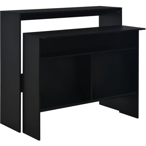Bar Table with 2 Table Tops 130x40x120 cm Black