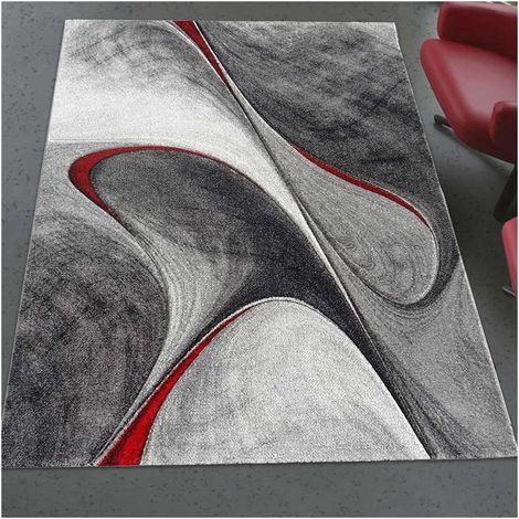 280x380 - UN AMOUR DE TAPIS - Grand Tapis Salon et Salle a Manger - Tapis Salon Moderne Design Graphique Poils Ras - Tapis Chambre Turquoise -Tapis Rouge Gris Noir