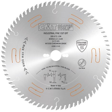 285.68-69-70 INDUSTRIAL LOW NOISE & CHROME COATED CIRCULAR SAW BLADES WITH ATB GRIND