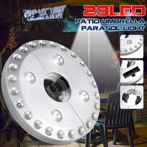 28LED Lampe Parasol De Jardin avec 3 Modes de Luminosité Patio Extérieure