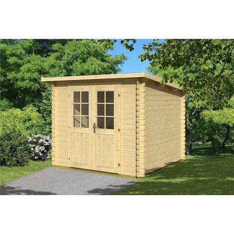 2.9m x 2.9m Budget Apex Log Cabin - Pent (232) - Single Glazing (28mm Wall Thickness)