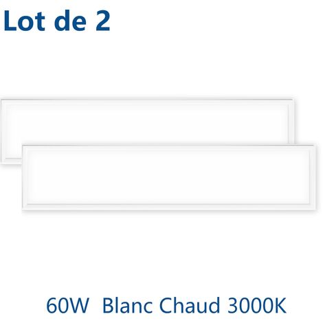 2×Anten 60W Dalle LED Panneau Luminaire LED 120*30CM Plafonnier Dalle Lumineuse Blanc Haute Luminosité Basse Consommation d'Énergie Blanc chaud 3000K