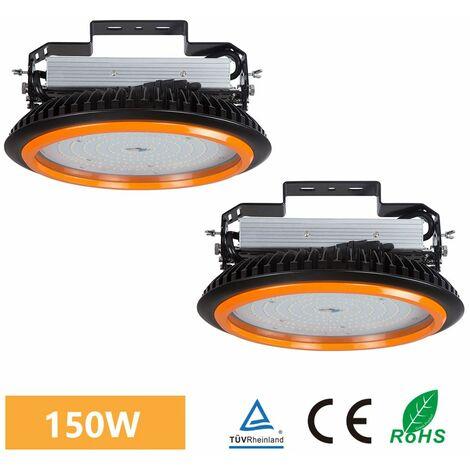 2×Anten UFO Projecteur LED 150W Industriel Phare de Travail de Super Luminosité 22000LM Spot High Bay Étanche IP65 Lampe Extérieur de Haute Qualité Certification de CE TÜV (Blanc Froid)