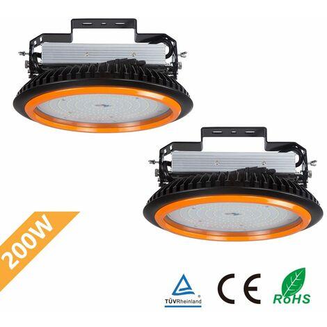 2×Anten UFO-Projecteur LED 200W Phare de Travail Rond IP65 Haute Baie d'éclairage Suspension 26000LM Spot Lumière Extérieur et Intérieur Blanc Froid 6000K Certification CE TÜV
