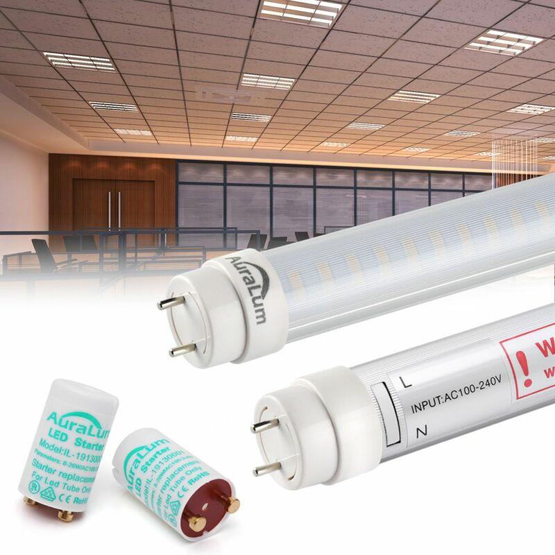Led Avec 2800 Couverture Tube 20w 120led Rayée Chaud 2×auralum Fluorescente Starters G13 Et 2100lm Blanc 3200k Lumière Néon T8 2835 120cm Pn8wOXk0