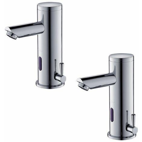 2×Auralum Mitigeur Automatique de lavabo Infrarouge Robinet de Lavabo Électronique Designe Élégant