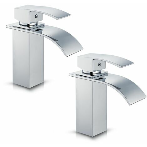2 auralum robinets de lavabo mitigeur pour salle de bain robinet brillant en laiton solide - Robinet lavabo salle de bain ...