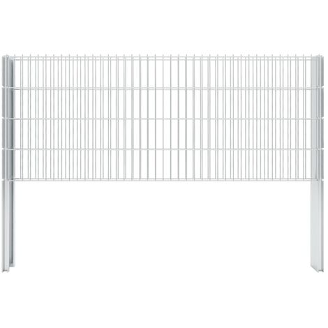2D Gabion Fence Galvanised Steel 2.008x0.83 m 12 m (Total Length) Silver