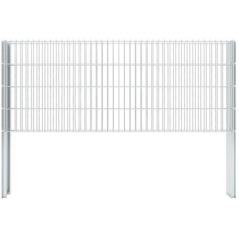 2D Gabion Fence Galvanised Steel 2.008x0.83 m 14 m (Total Length) Silver