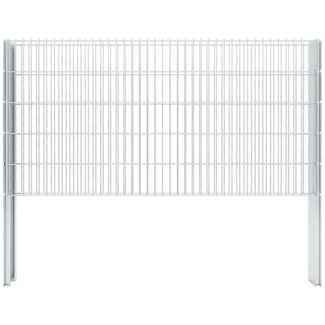 2D Gabion Fence Galvanised Steel 2.008x1.03 m 2 m (Total Length) Silver