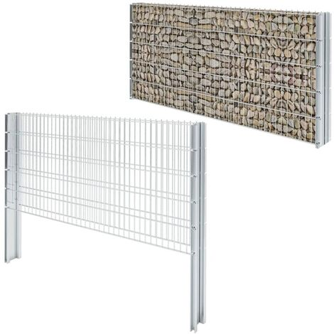 2D Gabion Fence Galvanised Steel 2.008x1.03 m 4 m (Total Length) Silver