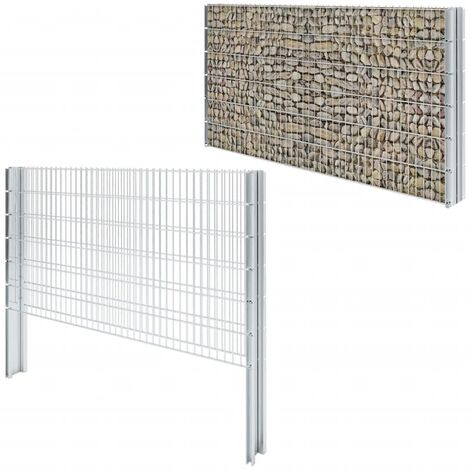 2D Gabion Fence Galvanised Steel 2.008x1.23 m 14 m (Total Length) Silver