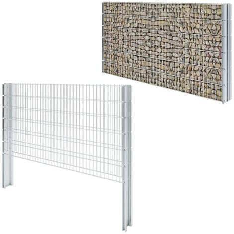 2D Gabion Fence Galvanised Steel 2008x1230 mm 2 m Silver