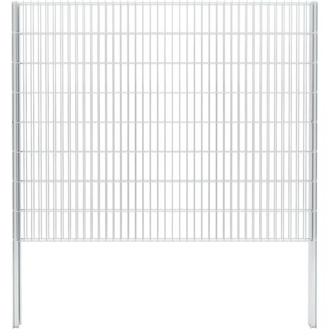 2D Gabion Fence Galvanised Steel 2.008x1.63 m 2 m (Total Length) Silver