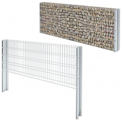 2D Gabion Fence Galvanised Steel 2008x830 mm 2 m Silver