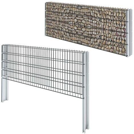 2D Gabion Fence Galvanised Steel 2008x830 mm 8 m Grey