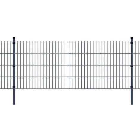 2D Garden Fence Panel & Posts 2008x830 mm 2 m Grey