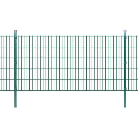 2D Garden Fence Panels & Posts 2008x1030 mm 14 m Green