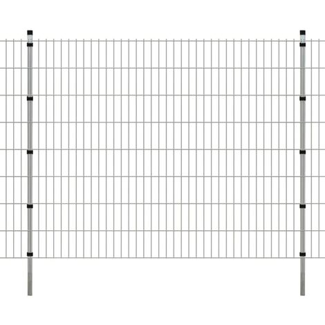 2D Garden Fence Panels & Posts 2008x1630 mm 8 m Silver