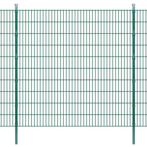2D Garden Fence Panels & Posts 2008x2030 mm 12 m Green