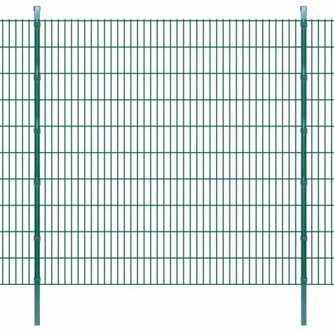 2D Garden Fence Panels & Posts 2008x2030 mm 50 m Green